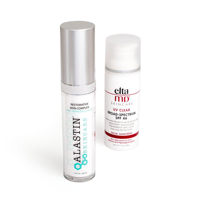 Alastin Skincare Restorative Skin Complex, Elta MD Skincare UV Clear Broad Spectrum SPF 46
