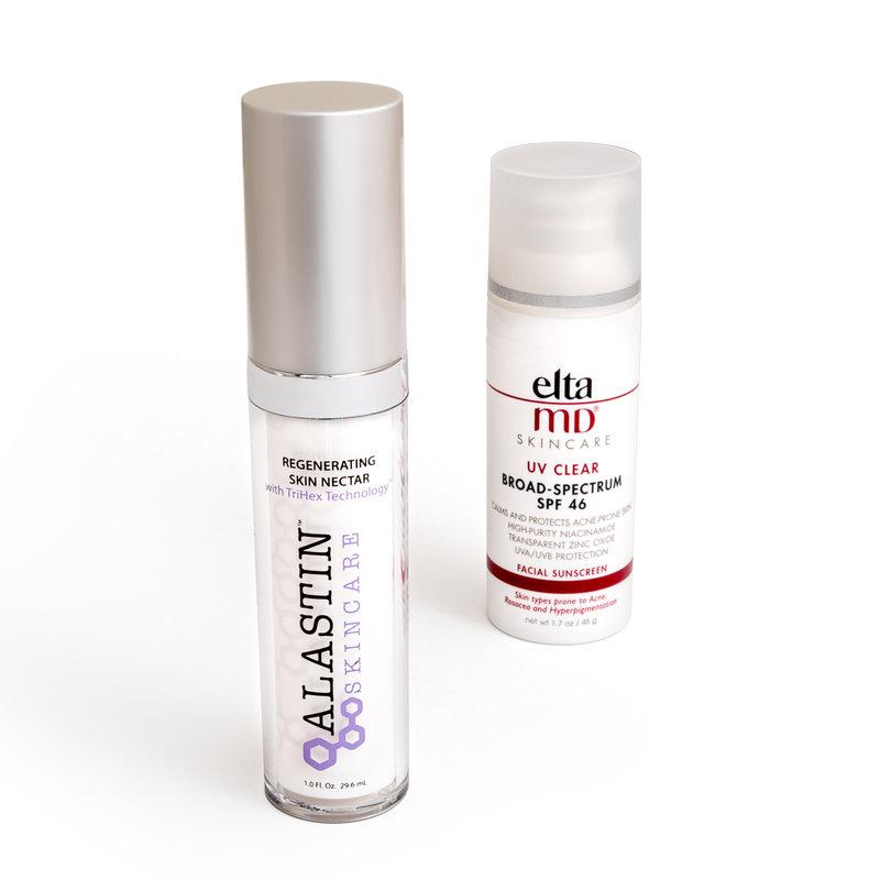 Alastin Skincare Regenerating Skin Rectar, Elta MD Skincare UV Clear Broad Spectrum SPF 46